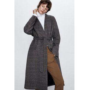 Zara Belted Herringbone Wool Coat